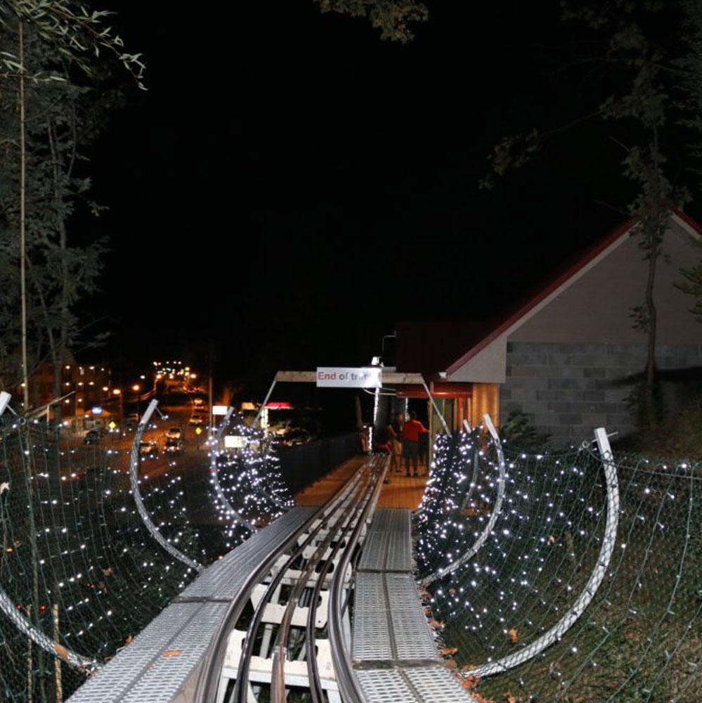 Experience the thrills of the Gatlinburg Mountain Coaster, even at night!